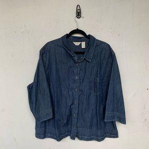 J. Jill Chambray Denim Button Down Shirt